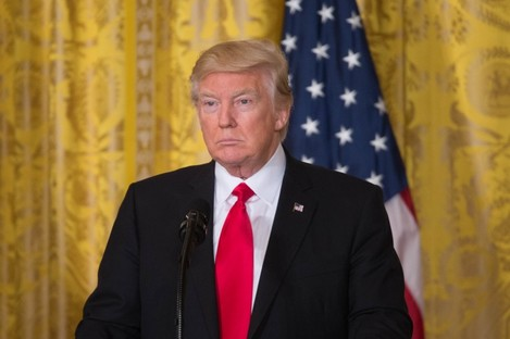 President Trump at a press conference in the White House.