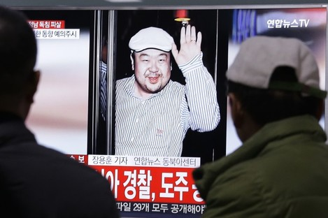 A TV screen showing a picture of Kim Jong Nam, who was assassinated last Monday.
