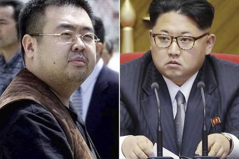 The deceased Kim Jong Nam, left,  and his half-brother, North Korean leader Kim Jong Un.