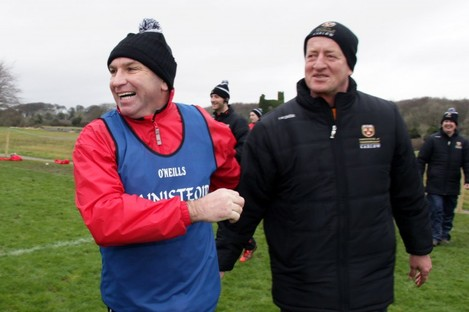 DJ Carey and Michael Dempsey celebrate IT Carlow's victory.