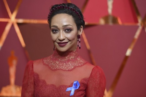 Ruth Negga wore a blue ribbon to express support for the ACLU