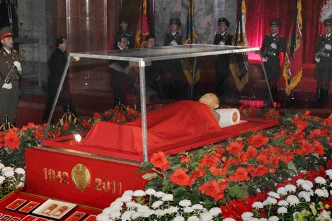 The body of Kim Jong-il in a memorial palace in Pyongyang