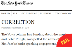 This New York Times correction about Cork is truly something else