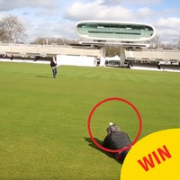 Dara Ó Briain cracked a photographer with a sliotar while playing hurling at the home of English cricket