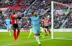 Aguero and Sane strike to keep Man City's slim title hopes alive