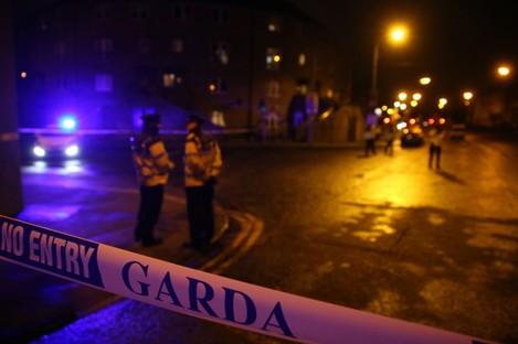 Gardaí at the scene at the murder of Eddie Hutch Snr.