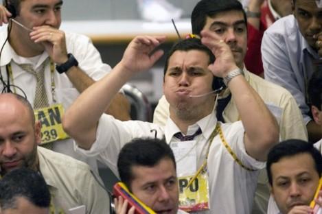 File photo of traders in Sao Paulo.