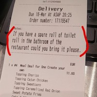 A Dublin pizza place fulfilled someone's request for a 'spare toilet roll' on their Just Eat order