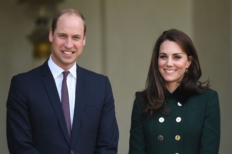 The Duke and Duchess of Cambridge depart after meeting French President Francois Hollande.