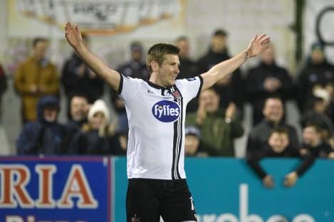 Dundalk's Patrick McEleney celebrates scoring his second goal.