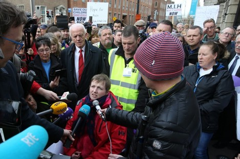 Vera Twomey.speaks to the media after her walk to the Dáil from Cork.
