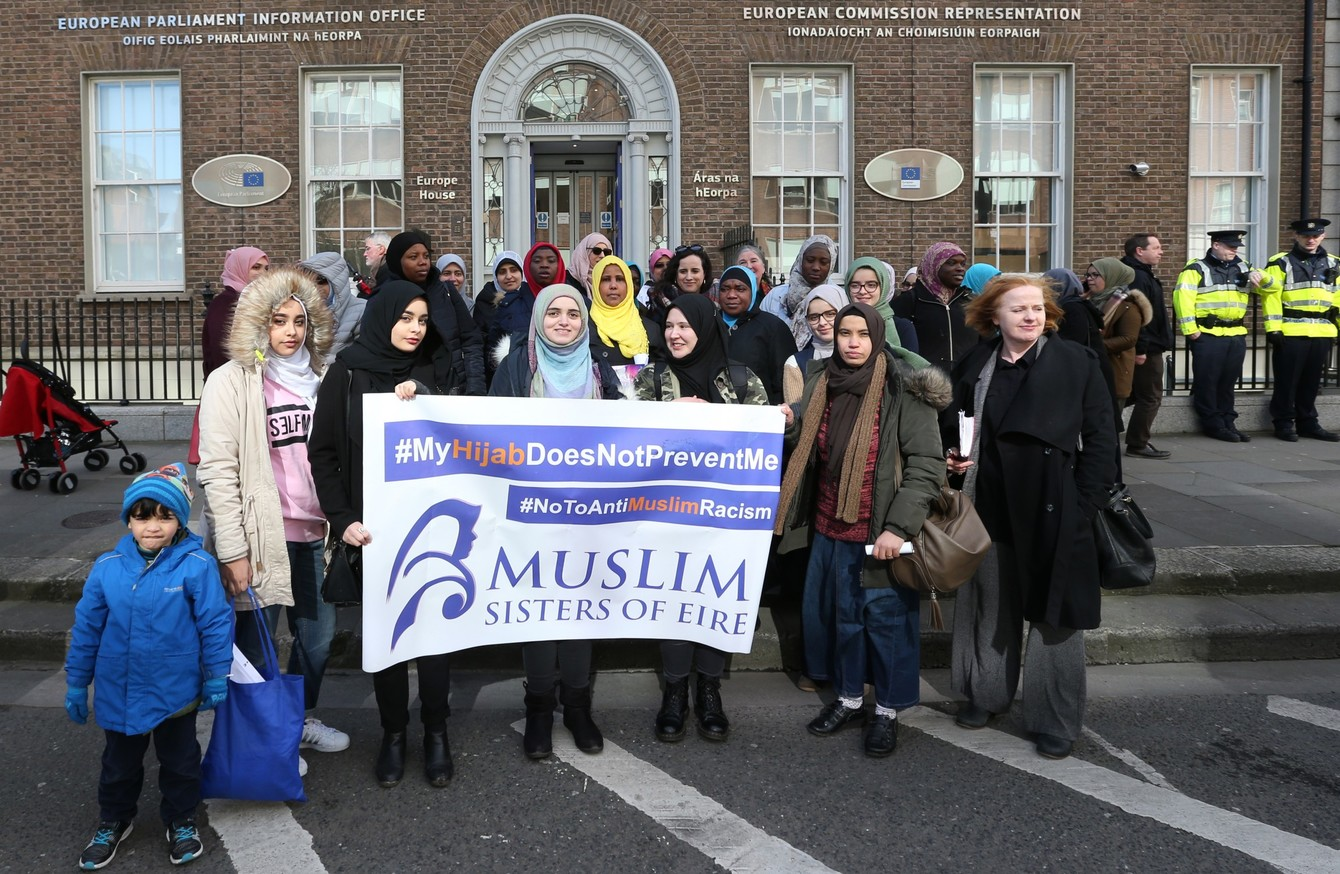 Dublin Protest Against Eu Ruling On Hijabs In The Workplace Ni Hijab Irish Muslim Women Feel That Will Directly Affect Their Ability To Find Employment