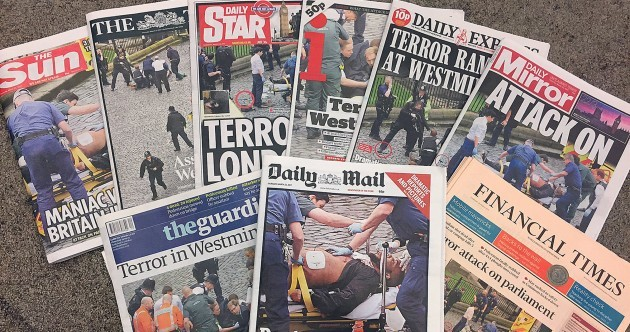 These are the front pages of the UK newspapers after yesterday's attack