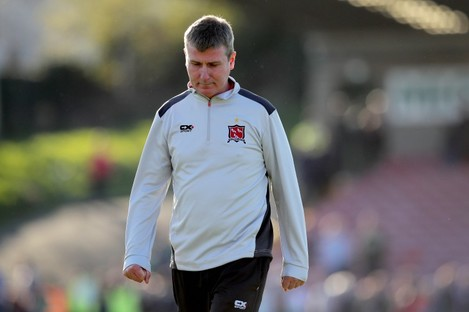 Dejected Dundalk manager Stephen Kenny in the aftermath of yesterday's 2-1 defeat to Cork City.