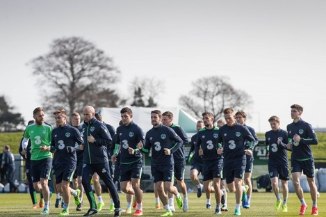The Irish players at the FAI's National Training Campus this morning.