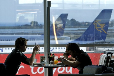 Passengers at Larnaca airport wait for the four-hour strike to end.