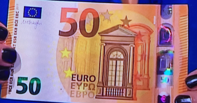 This is what the new €50 note (and its security features) looks like