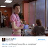 Zach Braff rowed in on the United Airline leggings controversy with a great Scrubs reference