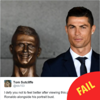 This godawful bust of Cristiano Ronaldo has just been unveiled at a Portuguese airport