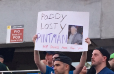 A Pintman sign ended up in the Wrestlemania crowd last night