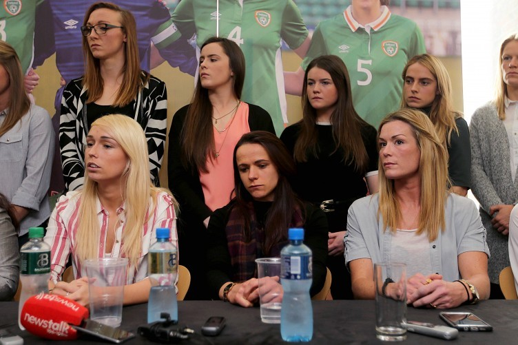 The players at yesterday's press conference.