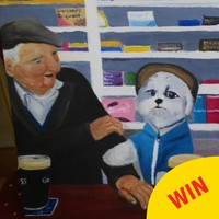 That photo of a dog and an auld lad in Offaly having a pint has been immortalised in a painting