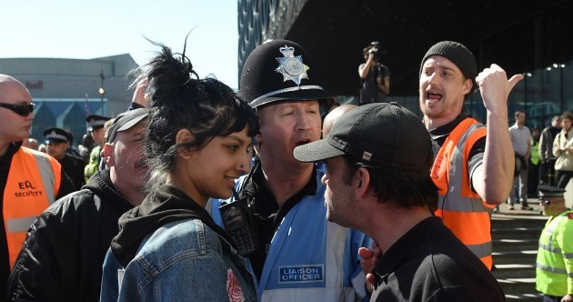 'I don't like seeing people getting ganged up on': Woman who stood up to far-right EDL protesters