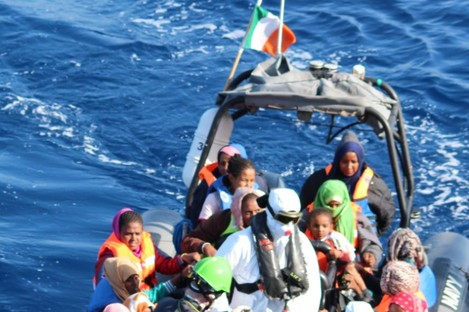 Crew of the LÉ Róisín as they launch to rescue people from the Mediterranean Sea.