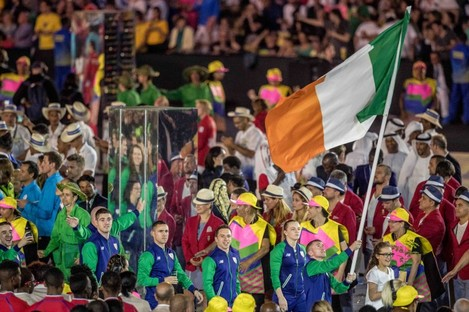 Dingley walking out behind Paddy Barnes at the Rio Opening Ceremony.