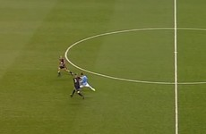 David Villa produces a stunning goal from 50 yards out