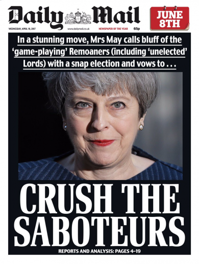 'Crush the saboteurs': Here's how the British press reacted to Theresa May calling an election