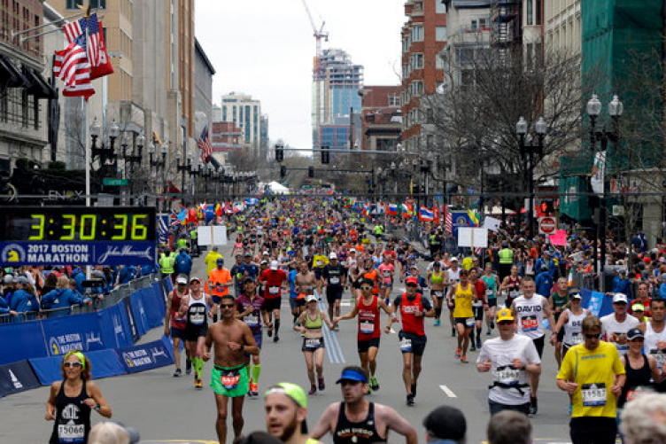 Runners head to the finish line in the 121st Boston Marathon on Monday.