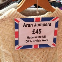 A gift shop in the UK is selling 'British' Aran jumpers
