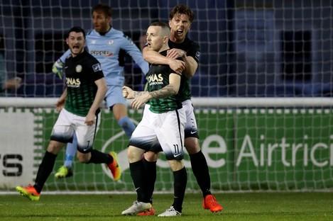 McCabe celebrates one of his goals.