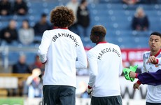 United players wear Zlatan and Rojo tribute t-shirts for pre-match warm-up