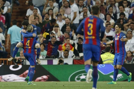 Messi celebrates his late, dramatic winner.