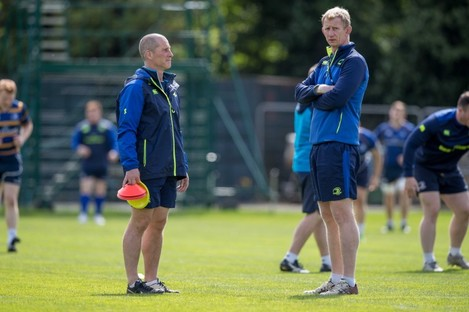 Lancaster and Cullen at training in UCD today.