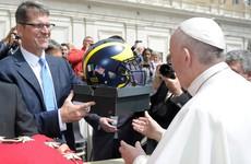 Jim Harbaugh met the Pope and gave him a pair of Nike Air Jordans