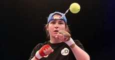 Katie Taylor spars against a tennis ball in prep for world title eliminator