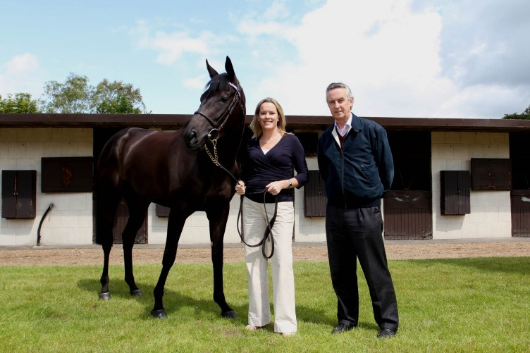 Dr Emmeline Hill and Jim Bolger, the renowned Irish racehorse trainer and breeder, pictured with Banimpire, a multiple-Group race winning racehorse.