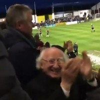 Michael D celebrated the winning goal at a Galway United match like a hero last night
