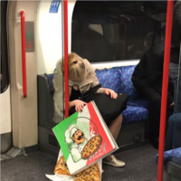 If ever there was a photo to sum up bank holiday fear, it's this photo of a sleeping girl and her pizza