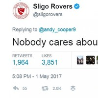Sligo Rovers had a delightfully harsh response to a fan whinging about their accumulator bet