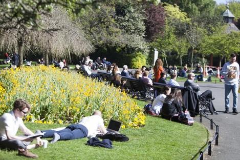 People enjoying the sunshine earlier this week.