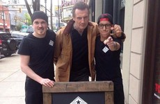 A café put up a sign saying 'Liam Neeson eats here for free', so he showed up