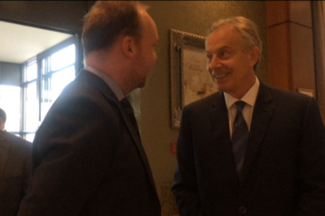 Fine Gael TD Noel Rock and former British Prime Minister Tony Blair at Druids Glen Hotel in Wicklow.