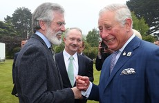 'You're even older than me': Prince Charles shares a joke and a handshake with Gerry Adams