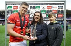 Owen Farrell the first recipient of the Anthony Foley Memorial Trophy as wife and son present award