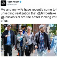 Seth Rogen sent the best tweet comparing him and his wife to Justin Timberlake and Jessica Biel