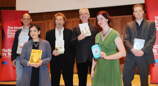The six authors shortlisted for the Man Booker 2010 literary prize gathered left to right: Damon Galgut, Andrea Levy, Howard Jacobsen, Peter Carey, Emma Donoghue and Tom McCarthy.